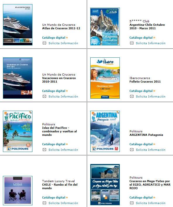 Todos los catálogos de viajes publicados para el 2011 y